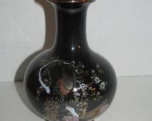 Vintage OMC Japan Peacock Vase