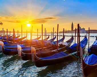 Italy - Venice - Venetian gondolas at sunrise - SKU 0182