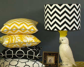 Australian Made Lampshade, Chevron Drum 38x 26cm, Available in 5 Colours and 2 Fittings, Made to Order 1-2 weeks