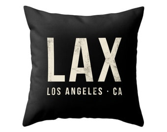 Los Angeles airport pillow black home decor lax throw pillow Los Angeles pillow lax cushion lax pillow cover jfk airport lax airport