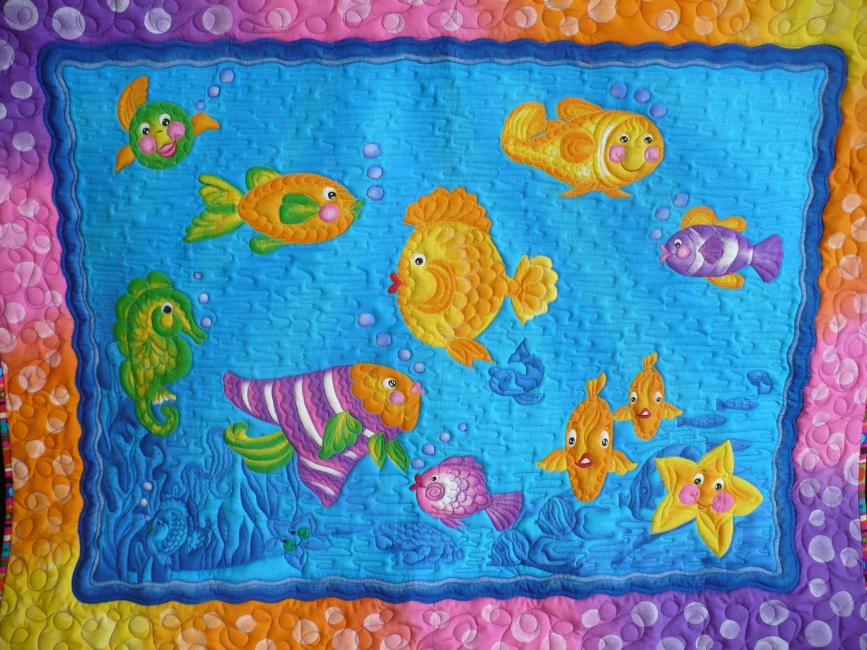 Kids fish wall hanging baby blanket kids lap quilt baby floor for Floor quilt for babies