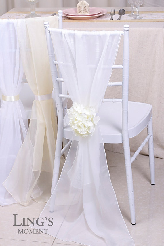 21x70 White Plain Chiffon Chair Covers Chiffon