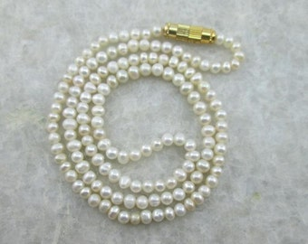 Pearl Necklace, Fresh Water Pearl Necklace, 5-5.50MM Round Beads Pearl, 18 inches Long
