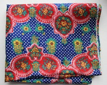 Russian Floral Ornament Fabric, Vintage Soviet Cotton Sateen Fabric with Flowers, Retro Fabric. Made in USSR, Collectible