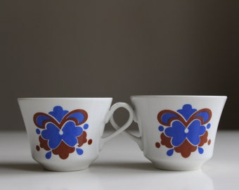 2 Coffee Cups. Vintage Wałbrzych Porcelain Cups, Retro Kitchen Decor. Made in Poland. Collectible