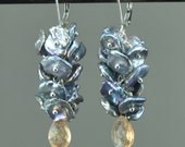 Keshi pearl and Oregon sunstone flat briolette earrings.