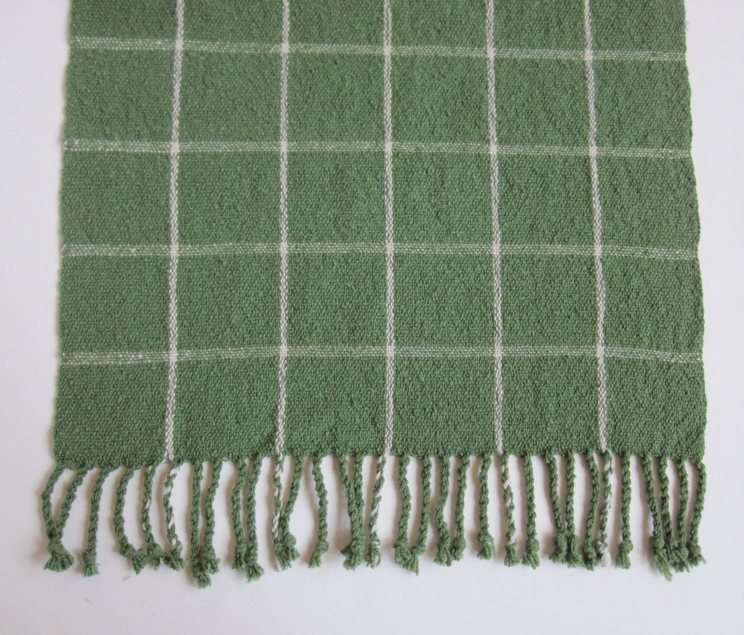 Handwoven Rustic Green Plaid Table Runner