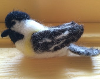 Needle Felted Bird, Chickadee Made to Order