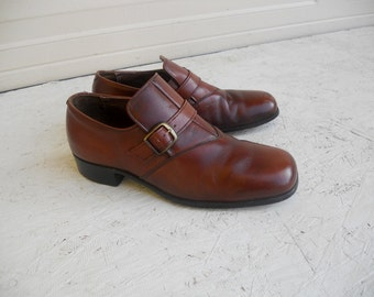 Vintage Men's Brown Roblee Dress Buckle Shoes 8 1/2 D FREE SHIPPING