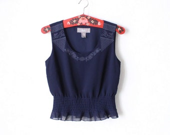 Vintage Navy Blue Embroidered Sleeveless Waisted Blouse Top