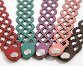 Celtic Knot bracelet, celtic weave bracelet, Celtic leather cuff, Laser cut leather bracelet