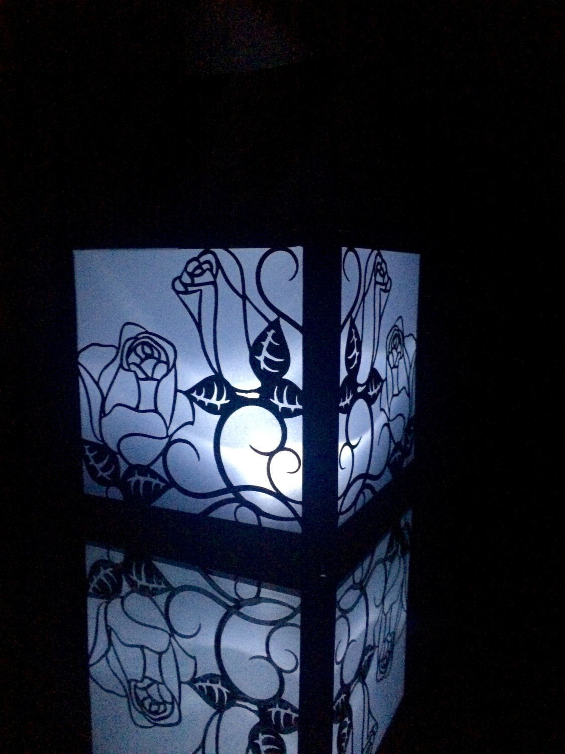 Black gothic roses cut paper lantern by shimmeringceremony
