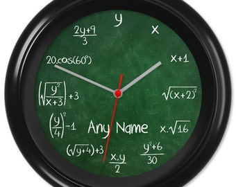 Maths Clock Teacher Student Pupil Equation Chalkboard Blackboard Greenboard Classroom #2 - Can be personalised (0216)