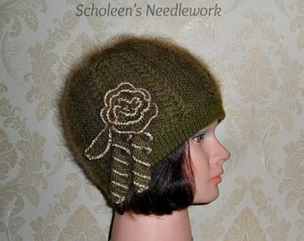 Olive Green Beanie Hat. Hand Knitted Hat. Handmade Hat. Women Hat. Reversible Hat. Mohair Hat.  Double Sided Hat.  2 in 1 Winter Hat.