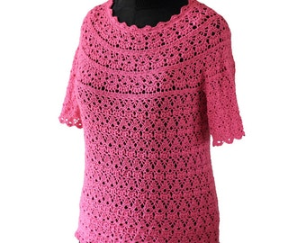 Crochet blouse  Pink blouse  handmade blouse quick shipping worldwide 10-14 business days