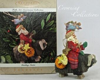 1995 Hallmark Guiding Santa Ornament Folk Art Americana Collection Showcase Keepsake Claus Angel Bison Ram