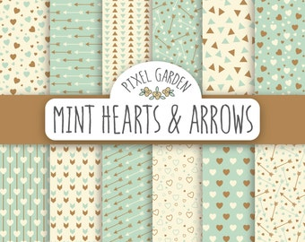 Mint Hearts And Arrows Digital Paper. Hearts Scrapbooking Paper. Mint Arrows Digital Clip Art. Bronze, Gold and Mint Valentine's Day Paper.