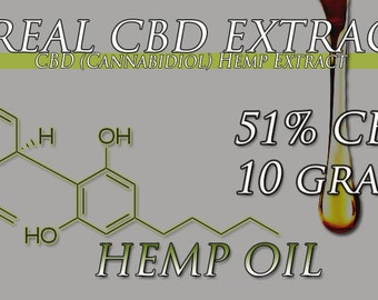 New 10 Gram Tube of CBD Oil Extracted From Organic Hemp 51% CBD Extracted From Organically Grown Top Strains
