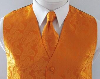Mens Vest Burnt Orange Tone On Tone Satin Paisley Mans Vest Tie And Pocket Square Set