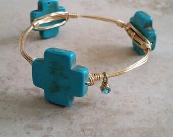 Turquoise Cross Wire Bracelet