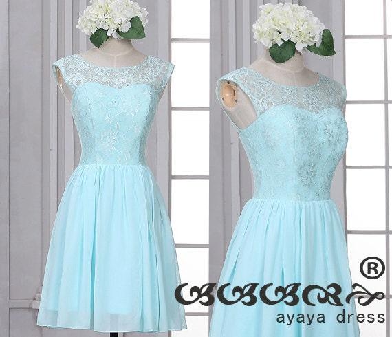 Lace short bridesmaid dress light blue bridesmaid by for Short light blue wedding dress