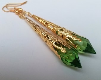 Green Gold Earrings , Green Teardrop Earrings , Gold Filigree Earrings , Green Earrings , Handmade Jewelry , Gift