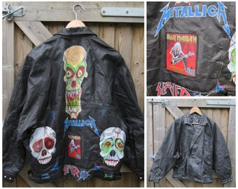 "Vintage ""METAL"" Custom Leather Jacket - Hand painted - Metallica - Slayer - Iron Maiden - Pantera - 1990's"