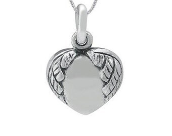 Sterling Silver Angel Wing Heart Pendant (P902)