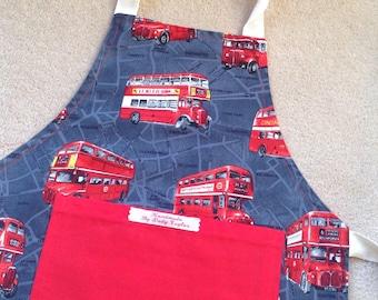 Reversible apron. London apron. Red bus apron. Kids apron