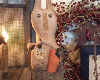 Primitive bunny shelf sitter with carrot