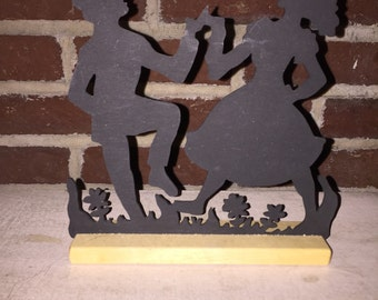 Dancing Girl and Boy Silhouette