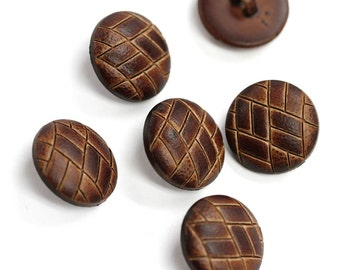 Sets of Brown Leather Overcoat Buttons