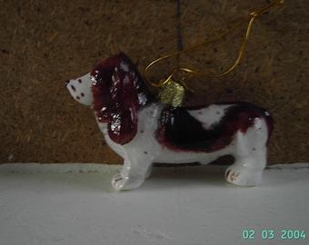 KSA Kurt Adler Bassett Hound Dog Nobel Gems Glass Christmas Tree Ornament or Decoration