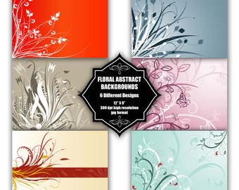 INSTANT DOWNLOAD - Collection of digital backgrounds with 6 different floral designs