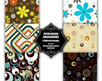 INSTANT DOWNLOAD - Collection of digital abstract backgrounds with 6 different retro designs