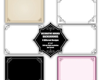 INSTANT DOWNLOAD - Collection of digital backgrounds with 6 different decorative border designs
