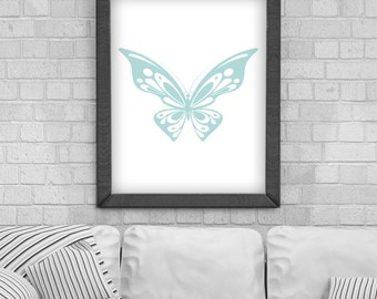 Digital Download 'Butterfly' Poster, Printable Art, Instant Download, Wall Prints, Digital Art, Scandinavian print, Typography quote
