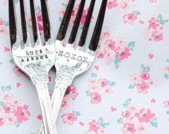 hugs kisses/XOXO engraved wedding forks - new forks – wedding, engagement, bridal shower gift, baby shower gift