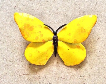 Retro Vintage Yellow Enamel Butterfly Brooch