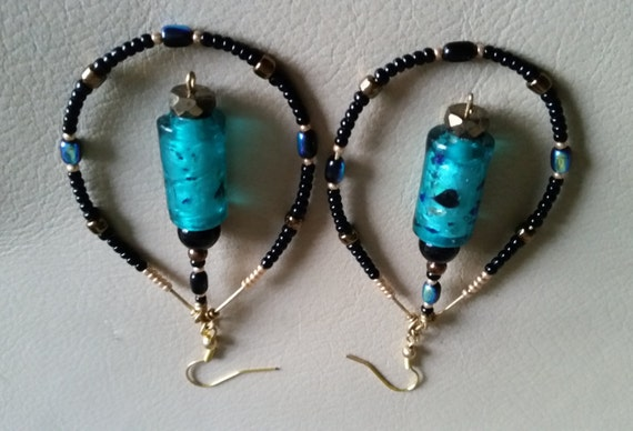 AQUAMARINE BEADED HOOP Dangle Earrings with Aqua Silverfoil Bead and Black, Gold, Bronze, Iridescent Seed Beads. Teardrop Drop Shaped Hoop.