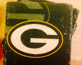 Green Bay Packers Coasters ~  Set of 4 Stone Coasters ~Coasters ~ Natural Stone Tile Coasters ~ Football Coasters