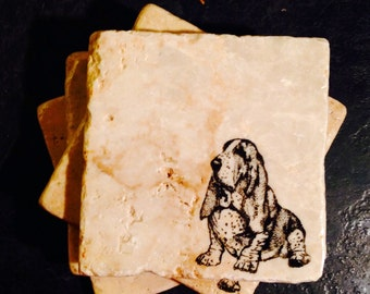 Basset Hound Coasters ~ Stone Coasters  ~ Stamped Coasters~ Stone Tile Coasters ~ Set of 4 Coasters