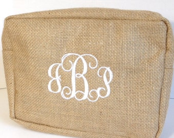 Monogrammed Burlap Makeup Bag, Personalized Jute Cosmetic Bag, Makeup Bags, Cosmetic Pouches, Bridesmaids Gifts, Bridal Shower Gifts