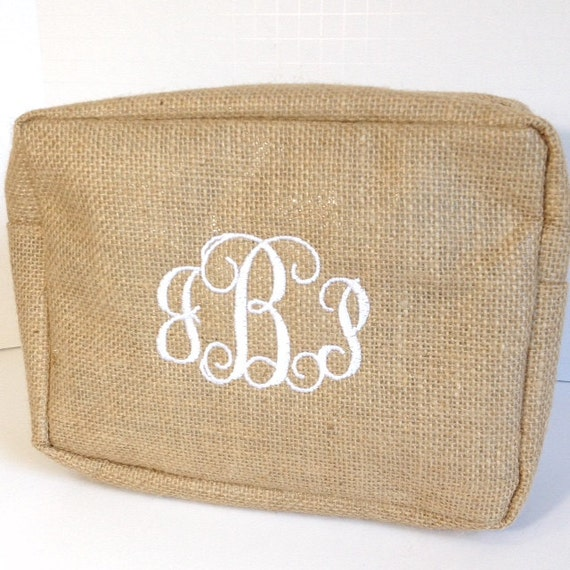Set of Five Monogrammed Burlap Makeup Bags, Personalized Jute Cosmetic Bag, Makeup Pouches, Bridesmaids Gifts, Bridal Shower Gifts