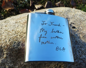 5 Handwritten Flasks, Your Handwriting Converted and Personalized, Polished Stainless Steel Groomsmen Gift Father