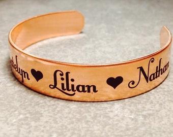 Copper Bracelet Personalized Bracelet Satin Finish, Custom Text, Girlfriend, Mom, Wife, Grandma, Bridesmaid