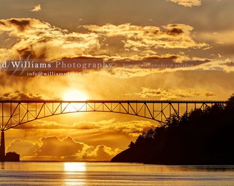 Sunset at Deception Pass, Washington State. Photographic Print. 11x14, 12x18, 16x20, 16x24, 20x24, 20x30