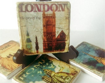 Travel Coasters - NYC - London - Rome - Paris - Famous Cities - Natural Stone - Any Occasion Gift - Home Decor - Set of 4