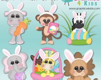 Easter in the jungle Digital Clipart - Clip art for scrapbooking, party invitations - Instant Download Clipart Commercial Use