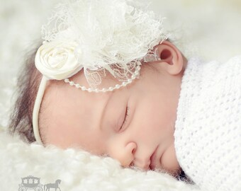 Ivory Christening Headband - Baby Headband - Baptism Headband - Fabric Flower - Girls Headband - Baby Girl Headband - Newborn Headband Ivory
